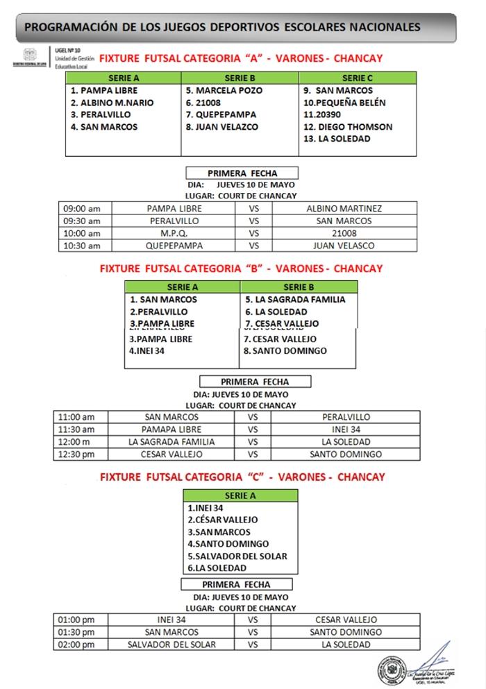 Programación de los Juego Deportivos Escolares Nacionales - 2018